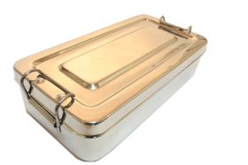 """8""""x4""""x2"""" Surgical Instrument Tray with Lid Holloware Dental Medical"""
