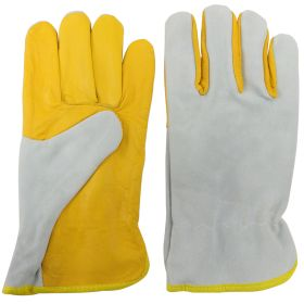 Yellow Cowhide Leather Safety Protective Gloves Welding Welder Work Repair Pair