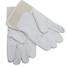 Perrini White Cowhide Leather & Canvas Cuff Safety Protective Gloves Work Repair