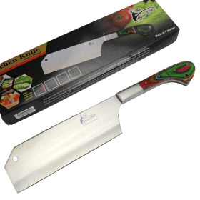 """TheBoneEdge 12"""" Chef Kitchen Cleaver Multi Color PackaWood Handle Knife Stainless Steel"""