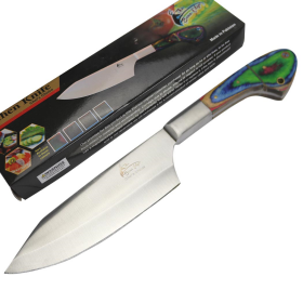"""TheBoneEdge 11"""" Chef Kitchen Knife Multi Color Packawood Handle Stainless Steel Full Tang"""