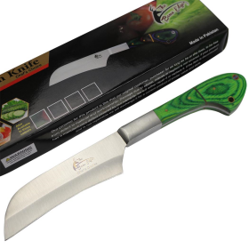 """TheBoneEdge 10"""" Chef Kitchen Knife Green Packawood Handle Stainless Steel Blade"""