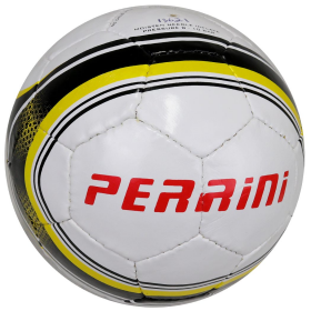 Perrini Soccer Ball White/Yellow Trim All Weather Indoor Outdoor Official Size 5