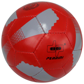 Perrini New Soccer Ball Red/Grey Trim All Weather Indoor Outdoor Official Size 5
