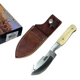 """Defender-Xtreme 7.5"""" Bone Handle Stainless Steel Hook Blade Hunting Knife With Leather Sheath"""