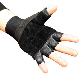 Fingerless Black Weight Lifting Leather Workout Gloves