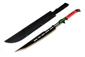 """28"""" Full Tang Zombie Killer Hunting Sword With Red Handle & Sheath"""