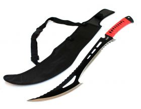 """24"""" Full Tang Hunting Sword With Red Handle & Sheath"""