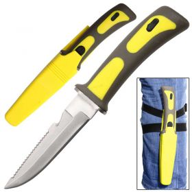 """9"""" Heavy Duty Yellow Sawtail Drop Point Diving Swimming Scuba Knife"""