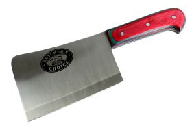 """10"""" Defender Xtreme Butcher Knife Stainless Steel Blade with Multicolor Wood Handle"""