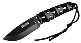 """10"""" Defender-Xtreme Black Full Tang Survival Outdoor Knife with Nylon Sheath"""