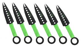 """7"""" Zomb-War Green Threaded Handle Throwing Knives (Set of Six)"""