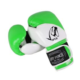 12oz Adult Size Last Punch White and Green Viper Boxing Gloves
