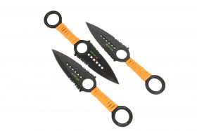 Zomb War 3 Pc Throwing Knife Set Black Color With Sheath and Orange Cord