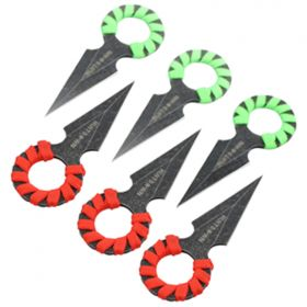 """4"""" Hunt Down Red &Green Rope Wrapped Around Handle Throwing Knives"""