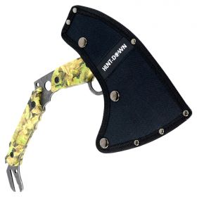 """Hunt-Down 13"""" Hunting Survival Axe With Sheath - Green Camo Color Handle"""