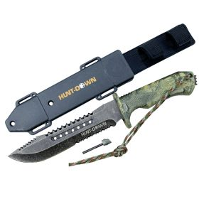 """Hunt-Down 12"""" Hunting Tactical Survival Knife with Fire Starter and ABS Sheath"""