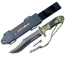 """Hunt-Down 12"""" Survial Hunting Knife with ABS Sheath and Fire Starter New"""