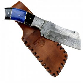 """Hunt-Down 9"""" Damascus Blade Hunting Knife Horn Handle with Leather Sheath"""