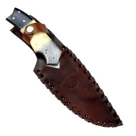 """Hunt-Down 9.5"""" Damascus Blade Horn Handle Hunting Knife with Leather Sheath"""