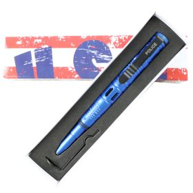 """Hunt-Down New 6"""" Blue Ploice Tactical Pen For Self Defence with Glass Breaker"""