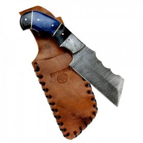 """Hunt-Down 9"""" Damascus Blade Horn Handle Hunting Knife with Leather Sheath"""