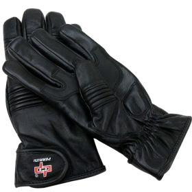 Perrini Black Cow Hide Leather Winter Gloves  Heavy Duty Playboy Fabric Lining