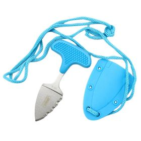"""Defender-Xtreme Hunting Knife 3.5"""" Blue Full Tang Stainless Steel Blade w/ Cord"""