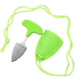 """Defender-Xtreme Hunting Knife 3.5"""" Green Full Tang Stainless Steel Blade w/ Cord"""