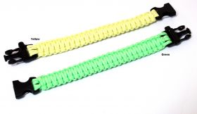 """10.5"""" Glow In Dark Survival Paracord Bracelets & Buckles With Whistle"""