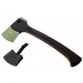 """13"""" Black And Green Tactical Axe With Hard Plastic Sheath"""