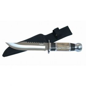 """10"""" Silver Stainless Steel Hunting Knife Brown Wood Handle with Sheath"""