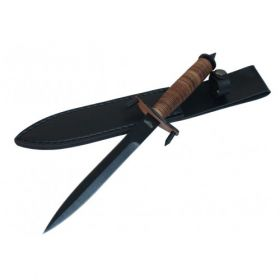 """12.5"""" Hunting Knife Brown & Black with Leather Handle & Sheath"""